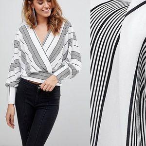 ASOS Design stripe batwing plunge blouse